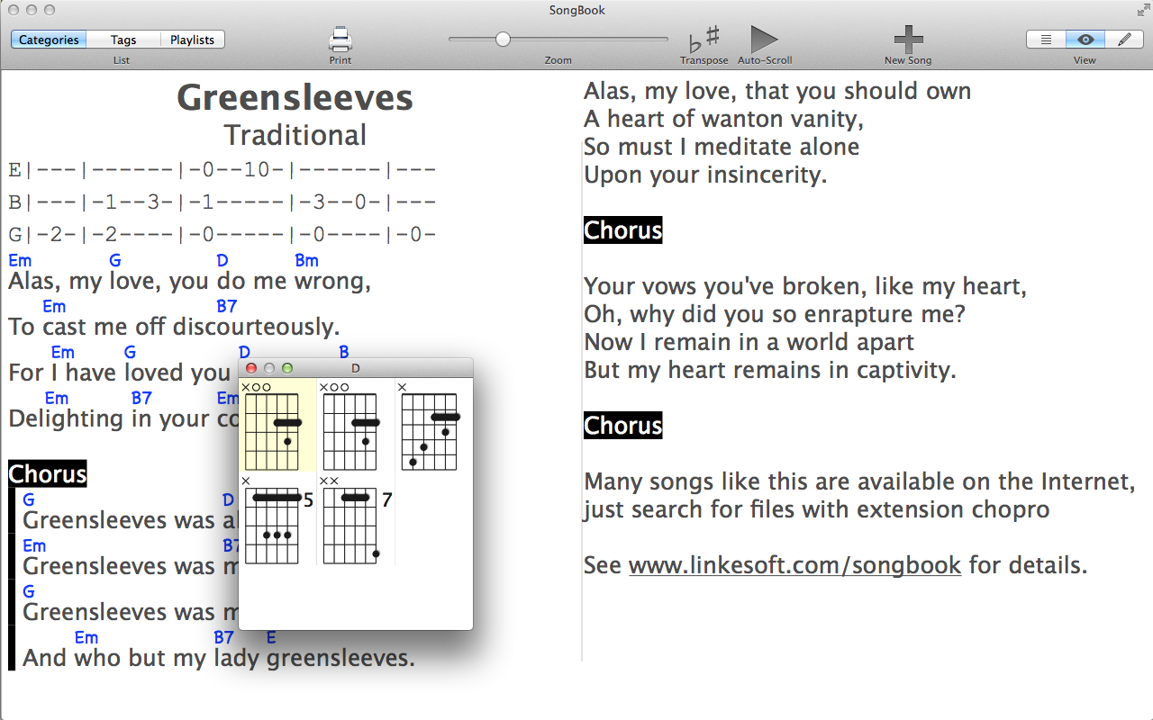 Linkesoft Songbook Songs And Chords How To Read Chord Diagrams The Horizontal Lines Left Song View